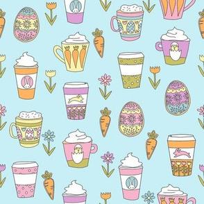 easter coffee fabric - coffee, cookies, cute, spring, pastel cookies, sugar cookies - blue brights