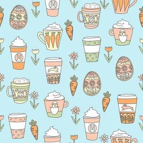 easter coffee fabric - coffee, cookies, cute, spring, pastel cookies, sugar cookies - blue