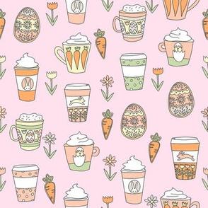 easter coffee fabric - coffee, cookies, cute, spring, pastel cookies, sugar cookies -pink