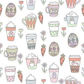 easter coffee fabric - coffee, cookies, cute, spring, pastel cookies, sugar cookies - white