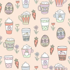 easter coffee fabric - coffee, cookies, cute, spring, pastel cookies, sugar cookies -peach