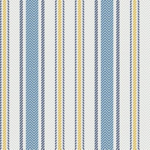Ticking Two Stripe in Blue Gray and Yellow