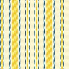 Ticking Two Stripe in Yellow and Blue