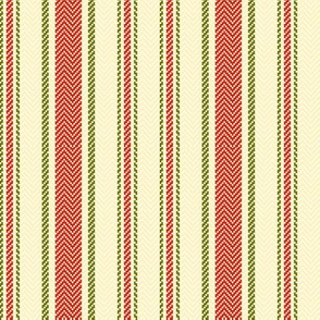 Ticking Two Stripe in Christmas Red and Green