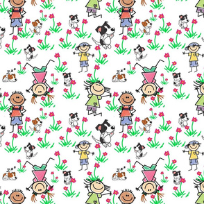 kids and dogs springtime seamless pattern