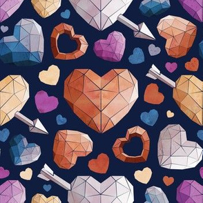 Small scale // Geometric Valentine's hearts // white background and lines orange brown blue pink hearts