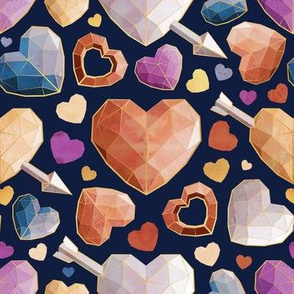 Small scale // Geometric Valentine's hearts // navy blue background orange brown blue pink hearts golden lines