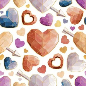 Small scale // Geometric Valentine's hearts // white background orange brown blue pink hearts golden lines