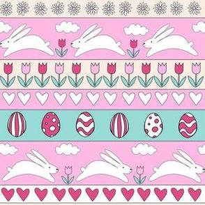 rabbit run fabric  - easter fabric, easter egg fabric, easter rabbit fabric, pastel fair isle fabric, easter pattern - pinks