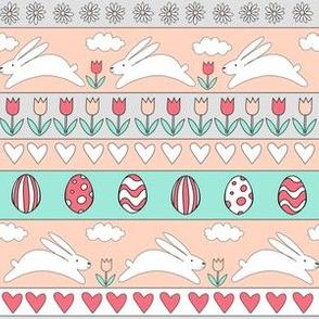 rabbit run fabric  - easter fabric, easter egg fabric, easter rabbit fabric, pastel fair isle fabric, easter pattern - peach