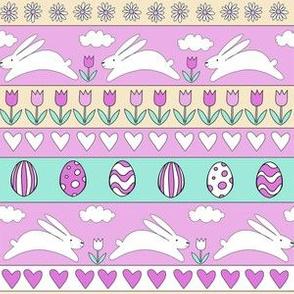 rabbit run fabric  - easter fabric, easter egg fabric, easter rabbit fabric, pastel fair isle fabric, easter pattern - bright purple