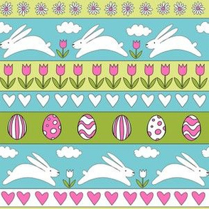 rabbit run fabric  - easter fabric, easter egg fabric, easter rabbit fabric, pastel fair isle fabric, easter pattern - turquoise