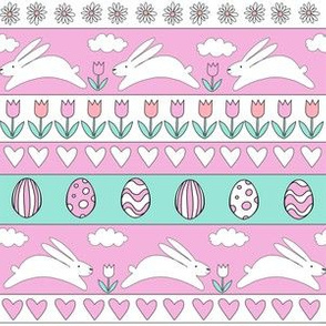 rabbit run fabric  - easter fabric, easter egg fabric, easter rabbit fabric, pastel fair isle fabric, easter pattern - pink