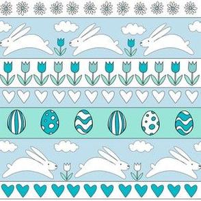 rabbit run fabric  - easter fabric, easter egg fabric, easter rabbit fabric, pastel fair isle fabric, easter pattern - blue