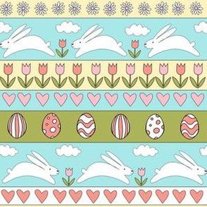 rabbit run fabric  - easter fabric, easter egg fabric, easter rabbit fabric, pastel fair isle fabric, easter pattern - bright