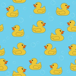 rubber duckie fabric - rubber duck fabric, cute bathtime fabric, bath fabric, baby fabric, kids fabric - blue and yellow