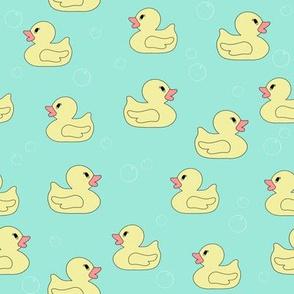 rubber duckie fabric - rubber duck fabric, cute bathtime fabric, bath fabric, baby fabric, kids fabric - mint