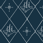 large nautical diamond whale ships and compass dark turquoise blue and white