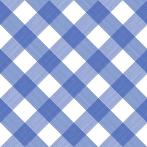 Diagonal Cobalt Blue 2 inch Buffalo Plaid