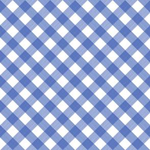 Diagonal Cobalt Blue 4 inch Buffalo Plaid
