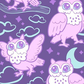 goodnight owls in purple