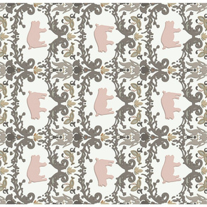 pig damask tea towel