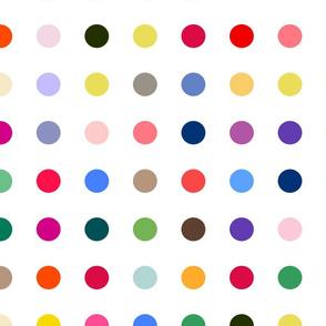 multicolored polka dots