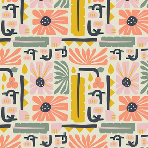 Fun Flowers Pattern Peach and Yellow