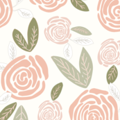 Gigi's Large Scale Blush Rose Garden with 3-Way Faded Leaves _5x