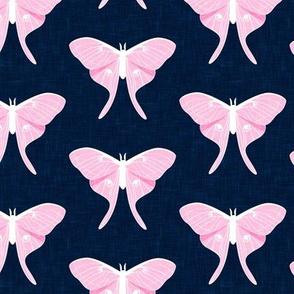 luna moth - v1 - pink on navy - LAD20