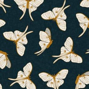 luna moth -  gold on dark teal - LAD20