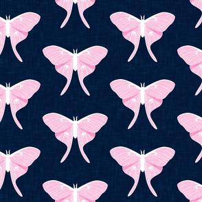 (jumbo scale) luna moth - v1 pink on navy - LAD20