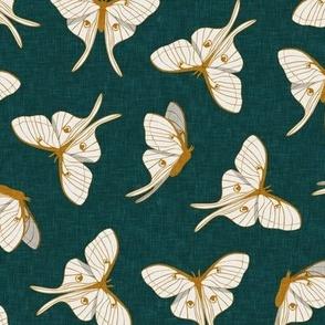 luna moth - gold on green - LAD20