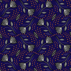 Navy orange linocut florals