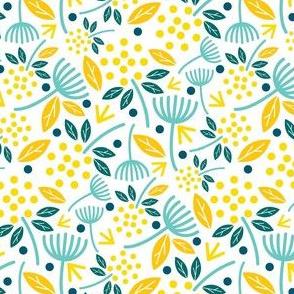 Dandelion Florals Golden Yellow Blue