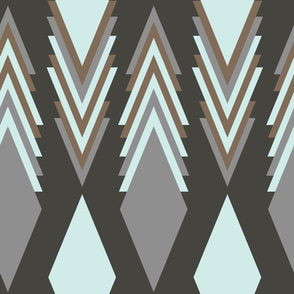 Blue brown and grey triangle art seamless pattern