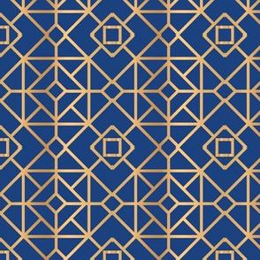 Blue Gold Square Geometric