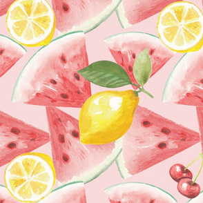Watermelon_ lemons and cherries seamless pattern. Watercolor hand drawn illustration
