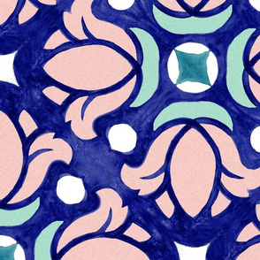 Watercolor hand drawn art with lotos flowers. Seamless surface pattern