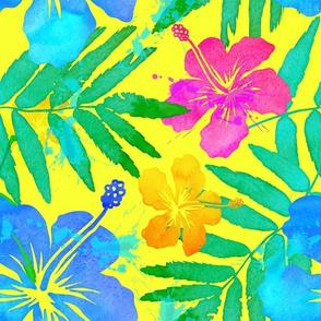 Hawaiian Tropical Floral yellow