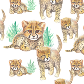 Seamless pattern with little cheetahs. Watercolor hand drawn illustration