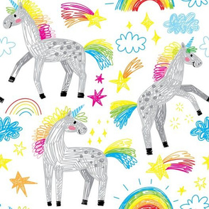 cute unicorns and rainbows hand drawn doodle girl pattern
