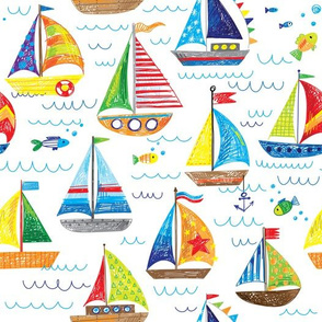 hand drawn sailboat ocean summer doodle pattern