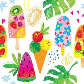 cutest ice cream summer berry monstera girl pattern