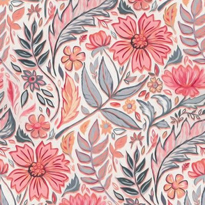 Melon Pink and Grey Art Nouveau Floral small