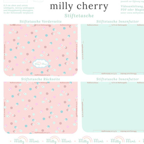 milly mint pencil case and small purse pattern milly cherry