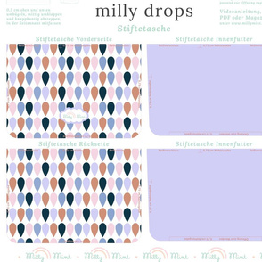 milly mint pencil case and small purse pattern milly drops