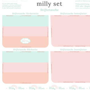 milly mint pencil case and small purse pattern milly set