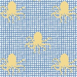 "4"" Yellow Octopus with Blue Squares"