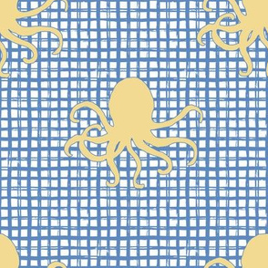 "8"" Yellow Octopus with Blue Squares"